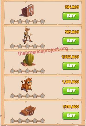 Coin Master Village 15: Wild West 1 Star Price List