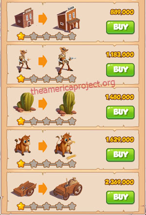 Coin Master Village 15: Wild West 2 Stars Price List