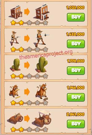 Coin Master Village 15: Wild West 3 Stars Price List