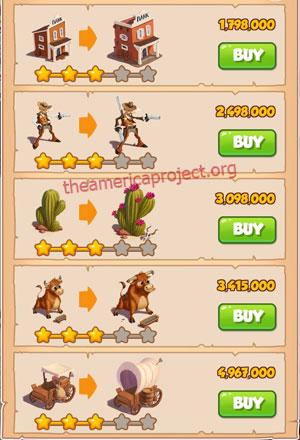 Coin Master Village 15: Wild West 4 Stars Price List
