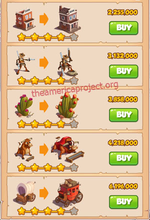 Coin Master Village 15: Wild West 5 Stars Price List