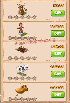 Coin Master Village 16: Netherland 1 Star Price List