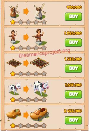 Coin Master Village 16: Netherland 2 Stars Price List