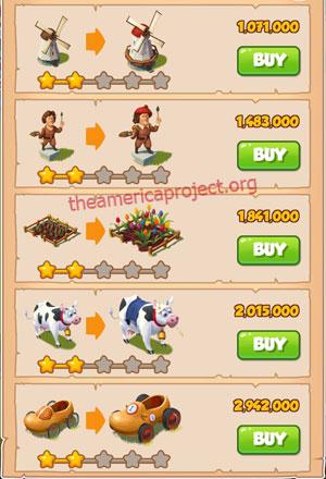 Coin Master Village 16: Netherland 3 Stars Price List