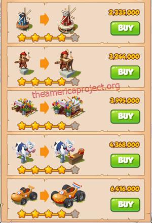 Coin Master Village 16: Netherland 5 Stars Price List
