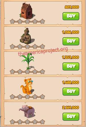 Coin Master Village 17: Jungle 1 Star Price List