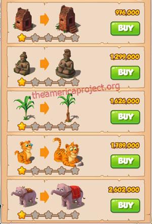 Coin Master Village 17: Jungle 2 Stars Price List