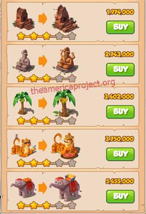 Coin Master Village 17: Jungle 4 Stars Price List