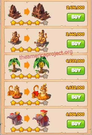 Coin Master Village 17: Jungle 5 Stars Price List