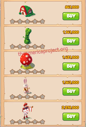 Coin Master Village 18: Wonderland 1 Star Price List
