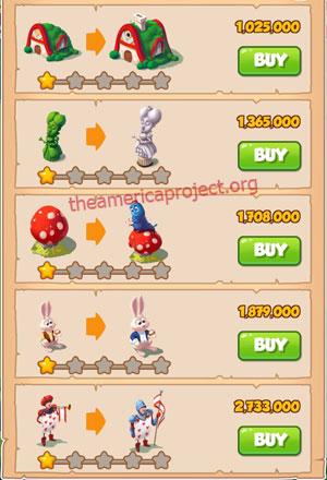 Coin Master Village 18: Wonderland 2 Stars Price List