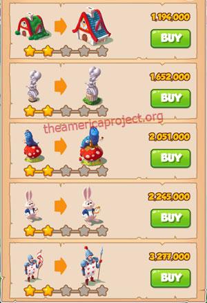 Coin Master Village 18: Wonderland 3 Stars Price List