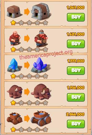 Coin Master Village 19: Miners 2 Stars Price List