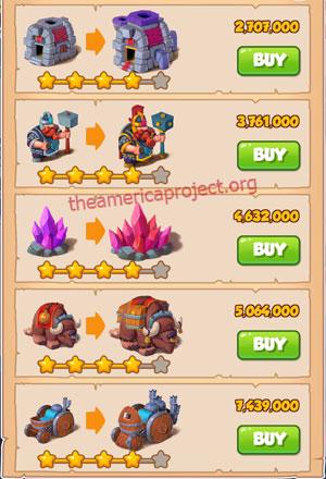 Coin Master Village 19: Miners 5 Stars Price List