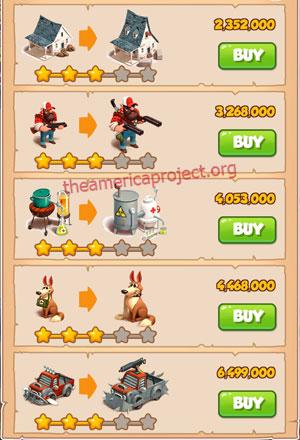 Coin Master Village 21: Apocalypse 4 Stars Price List