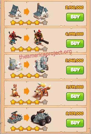 Coin Master Village 21: Apocalypse 5 Stars Price List