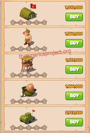 Coin Master Village 23: Army Camp 1 Star Price List