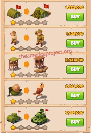 Coin Master Village 23: Army Camp 2 Stars Price List