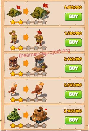 Coin Master Village 23: Army Camp 3 Stars Price List