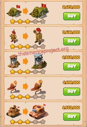 Coin Master Village 23: Army Camp 4 Stars Price List
