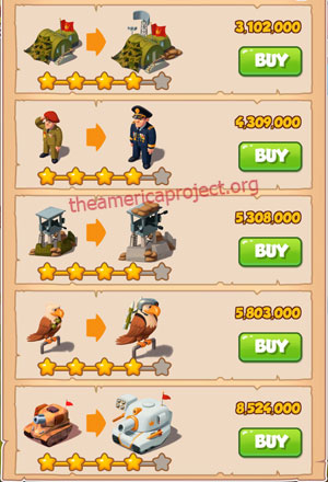 Coin Master Village 23: Army Camp 5 Stars Price List