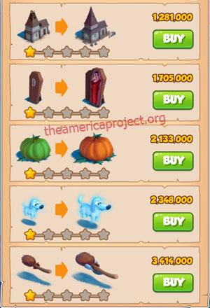 Coin Master Village 24: Halloween 2 Stars Price List