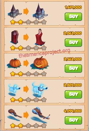 Coin Master Village 24: Halloween 3 Stars Price List