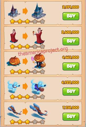 Coin Master Village 24: Halloween 4 Stars Price List
