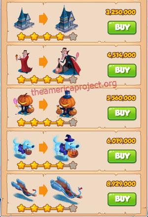 Coin Master Village 24: Halloween 5 Stars Price List