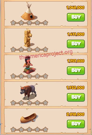 Coin Master Village 25: The Tribe 1 Stars Price List