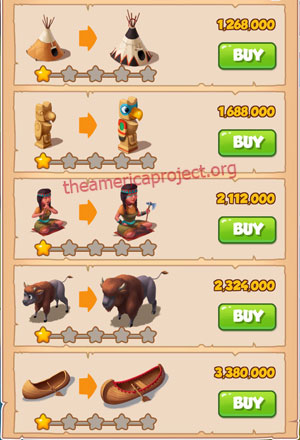 Coin Master Village 25: The Tribe 2 Stars Price List