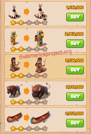 Coin Master Village 25: The Tribe 3 Stars Price List