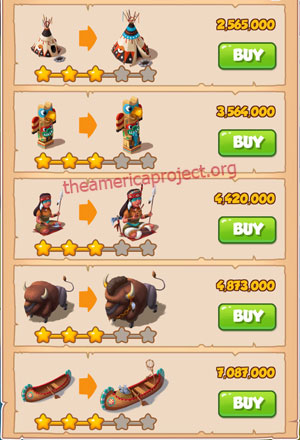 Coin Master Village 25: The Tribe 4 Stars Price List