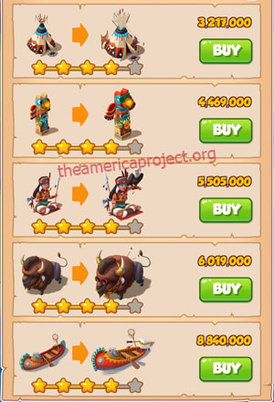 Coin Master Village 25: The Tribe 5 Stars Price List