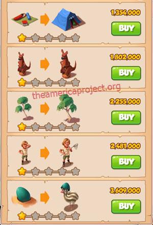 Coin Master Village 26: Australia 2 Stars Price List