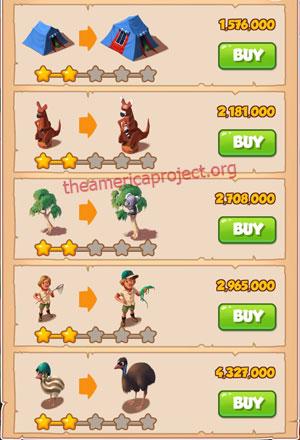 Coin Master Village 26: Australia 3 Stars Price List