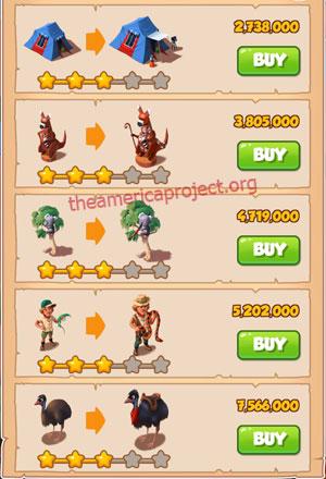 Coin Master Village 26: Australia 4 Stars Price List