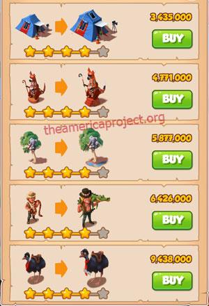 Coin Master Village 26: Australia 5 Stars Price List