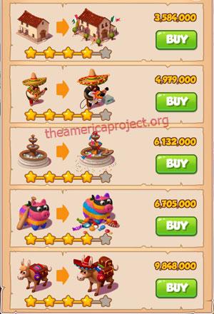 Coin Master Village 28: Mexico 5 Stars Price List