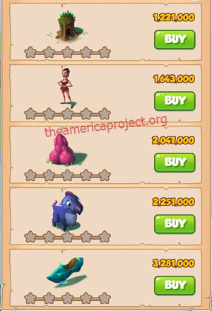 Coin Master Village 29: Magical Forest 1 Star Price List