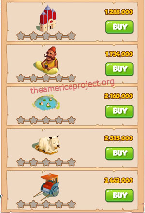 Coin Master Village 30: India 1 Star Price List
