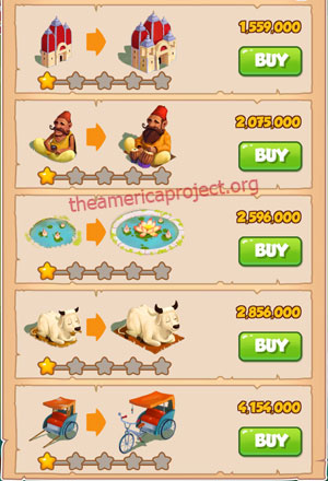 Coin Master Village 30: India 2 Stars Price List