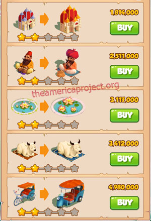 Coin Master Village 30: India 3 Stars Price List