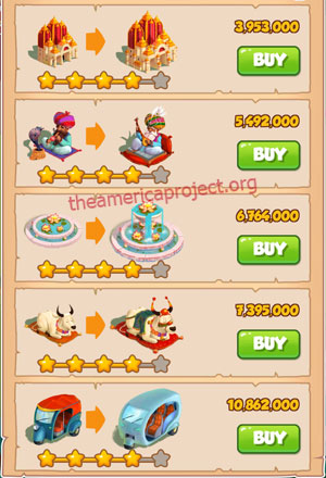 Coin Master Village 30: India 5 Stars Price List