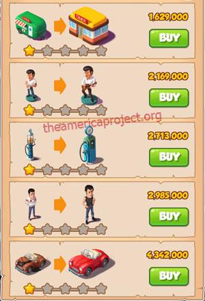 Coin Master Village 31: The 50's 2 Stars Price List