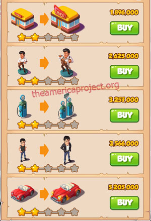 Coin Master Village 31: The 50's 3 Stars Price List
