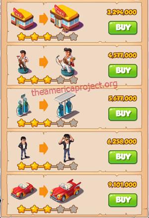 Coin Master Village 31: The 50's 4 Stars Price List