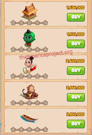 Coin Master Village 32: Thailand 1 Stars Price List