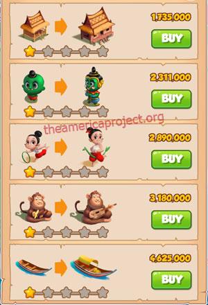 Coin Master Village 32: Thailand 2 Stars Price List