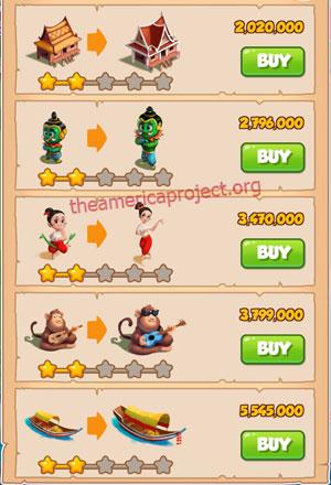Coin Master Village 32: Thailand 3 Stars Price List